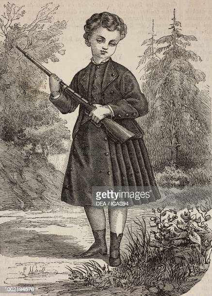 Children's hunting suit for ages 46 Mademoiselle Hunsinger France engraving from La Mode Illustree No 43 October 26 1873