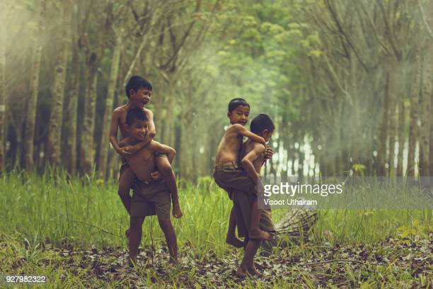 Children's in green nature in agricultural areas.