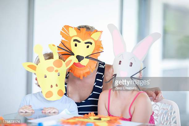 children's mask making party - rabbit mask stock pictures, royalty-free photos & images