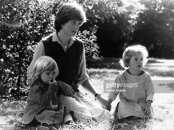 Children's nanny Lady Diana Spencer with two of her charges the year before she married Prince Charles and became the Princess of Wales