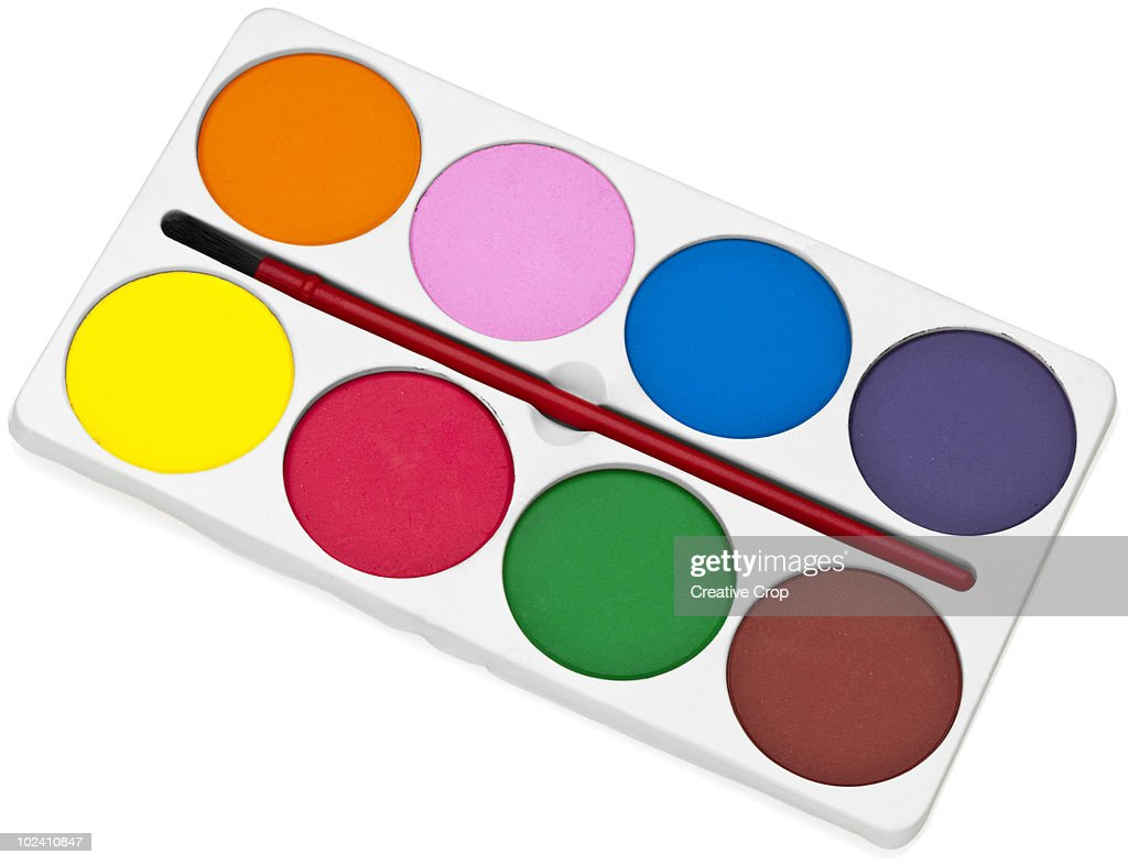 Childrens Paint Palette And Brush Stock Photo | Getty Images