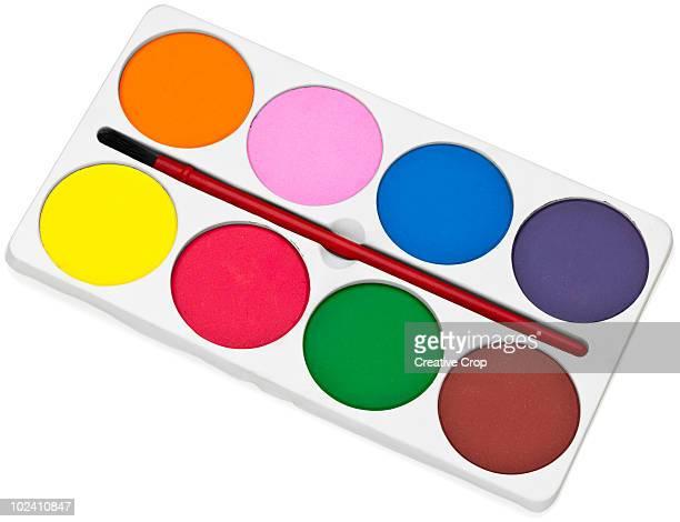 Children's paint palette and brush