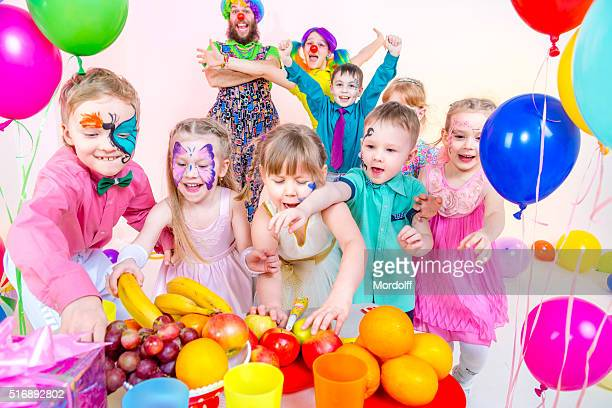 children's party. time to eat - birthday balloons stock photos and pictures