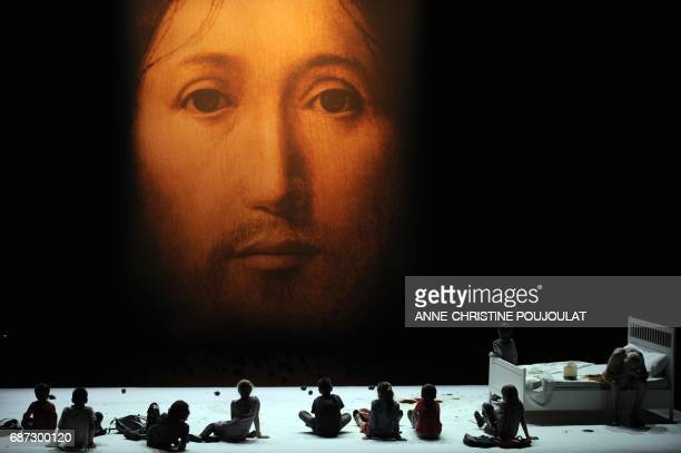 Childrens perform during a rehearsal of the play 'Sur le concept du visage du fils de Dieu' by Italian director Romeo Castellucci on July 19 2011 in...