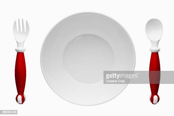 children's plastic cutlery and plate - plastic plate stock pictures, royalty-free photos & images