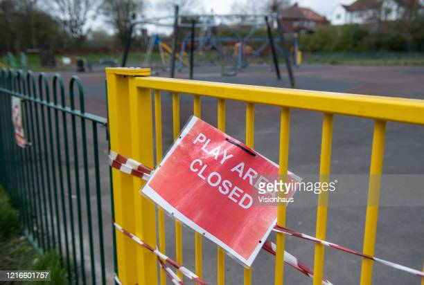 Childrens playground is closed due to the Covid19 Pandemic on April 3 2020 in Manchester England The Coronavirus pandemic has spread to many...