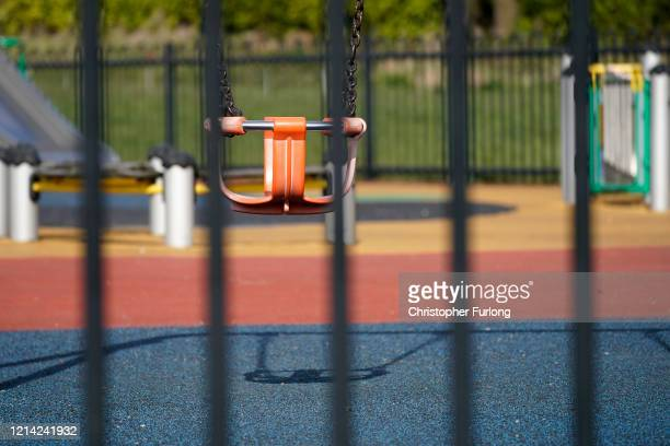 A children's playground lays dormant as Leeds City Council temporarily closes all of it's playgrounds though parks will still remain open for...