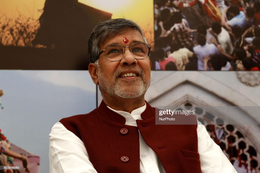 Children's rights activist and Nobel Peace Prize winner, Kailash Satyarthi, at the inauguration of a photo exhibition in Ajmer, India, on 21 February 2018.
