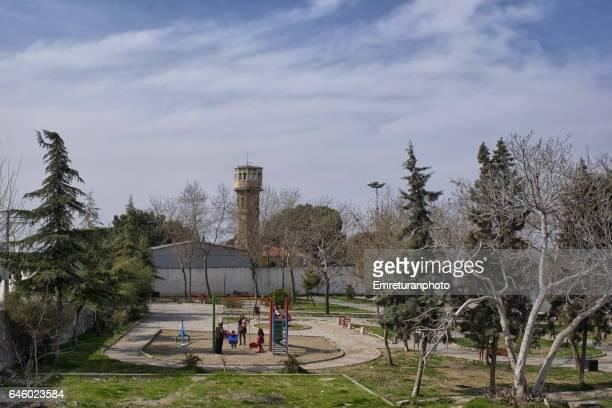 children's small playground at kadifekale. - emreturanphoto stock-fotos und bilder