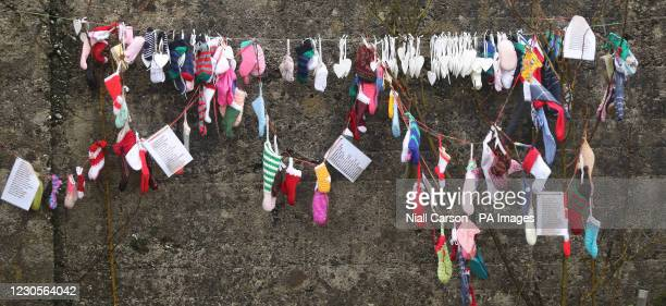 Childrens sox at the grotto on an unmarked mass grave at the site of the Tuam Mother and Baby Home run by the Bon Secures sister.