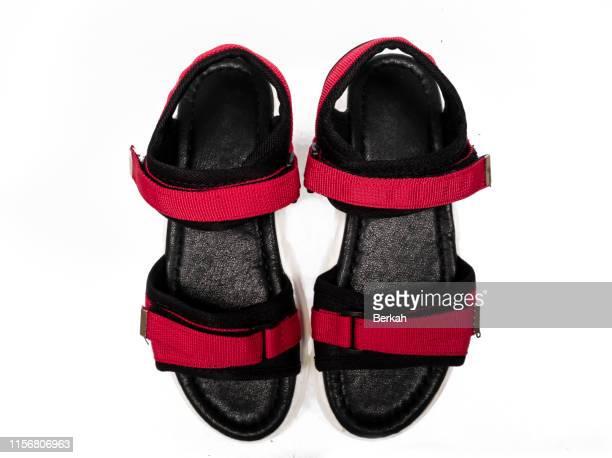children's sports sandals with white background - サンダル ストックフォトと画像