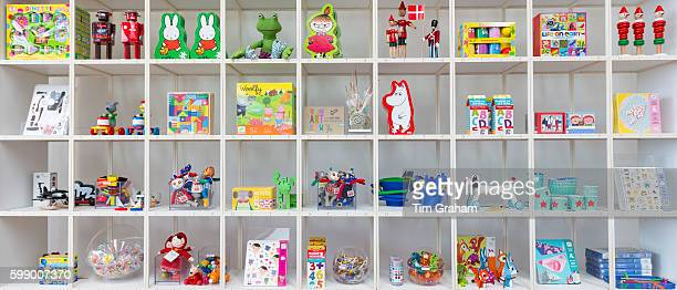 Children's toys souvenirs Moomin by Tove Jansson Miffy by Dick Bruna characters in shop Arken Museum of Modern Art on June 24 2015 near Copenhagen...