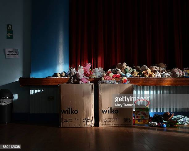 Children's toys which have been donated to the Brandon Lane clothing and foodbank on December 22 2016 in Durham England Demands on parents to provide...