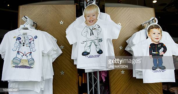 Children's Tshirts hang on racks for sale at the ArmelLeftwich Visitors Center on the grounds of the US Naval Academy in Annapolis MD August 12 2010...