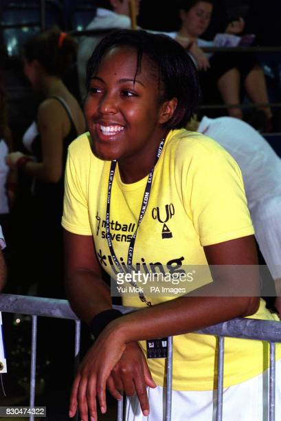 Children's TV presenter Angellica Bell at the 'Netball Sevens' celebrity netball tournament in aid of charity at Crystal Palace Indoor Stadium,...