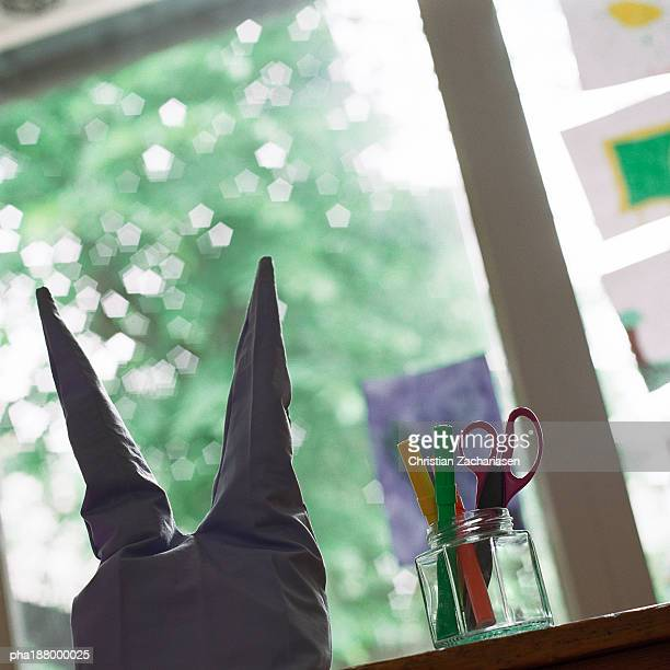 child's art and craft supplies. - dunce cap stock pictures, royalty-free photos & images