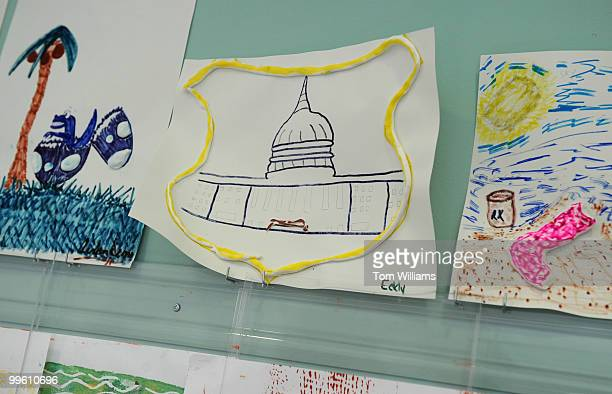 A child's artwork inspired by the official patch of Aidan Sims of the US Capitol Police hangs on a wall at the National Rehabilitation Hospital on...