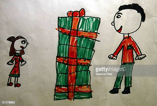 A childs artwork titled Going to Dad's Office is displayed at the Terrapin Chelsea Art Gallery September 9 2004 in New York City The artwork is part...