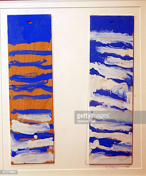 A childs artwork titled The Twin Towers is displayed at the Terrapin Chelsea Art Gallery September 9 2004 in New York City The artwork is part of a...