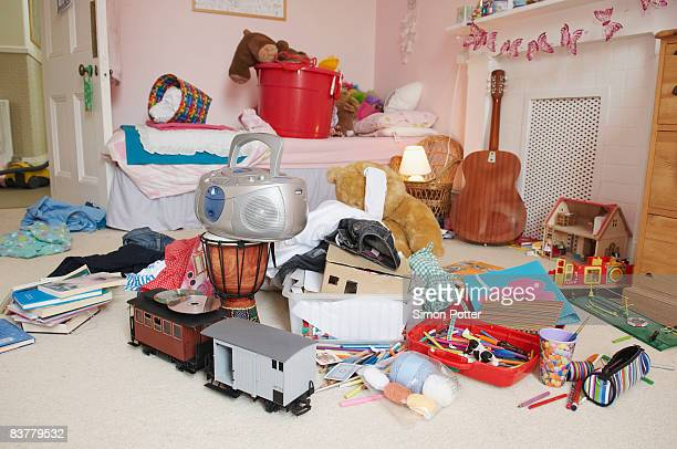 child's bedroom in a mess - messy stock photos and pictures