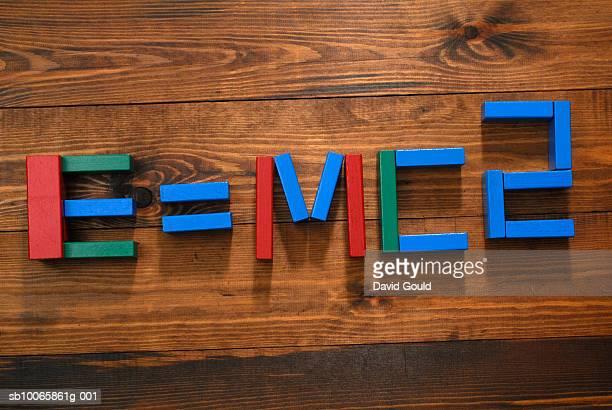 Child's building blocks arranged to show E=mc2 formula