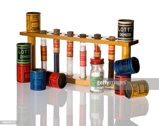 child's chemistry set from the 1960's - hugh threlfall stock pictures, royalty-free photos & images