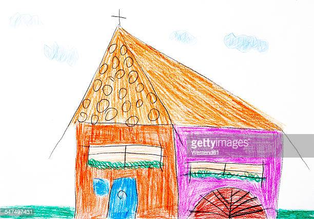Childs drawing, colorful church
