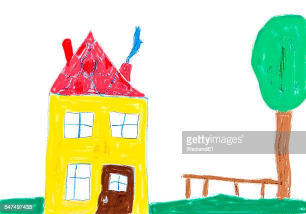 Childs drawing, Colorful house and tree