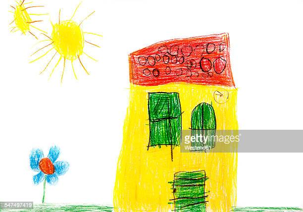 Childs drawing, Colorful house, flower and sun