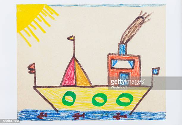 Childs drawing, colorful ship and sea