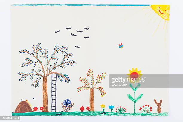 child's drawing, garden, plum tree, flowers - kids art stock pictures, royalty-free photos & images