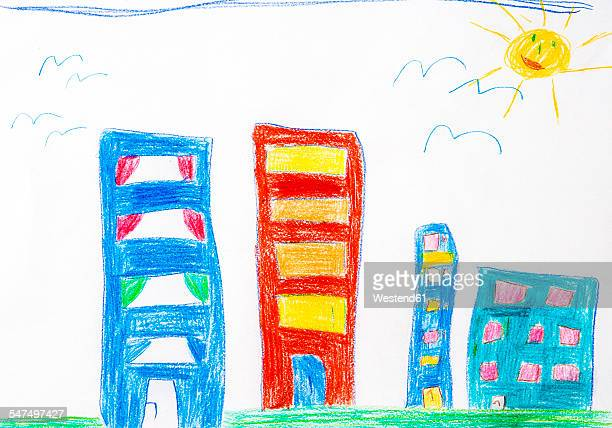 child's drawing, high-rise buildings and sun - kids art stock pictures, royalty-free photos & images