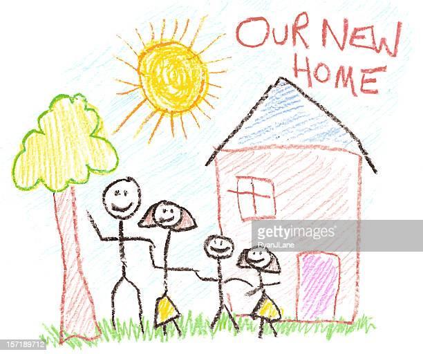 Kind, die Zeichnung der Familie und neue Heimat im Wachsmalstift