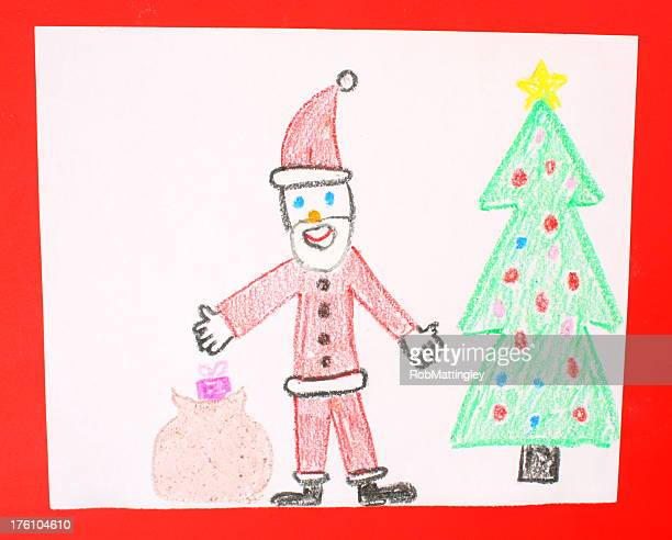 A child's drawing of Santa Claus next to a Christmas tree