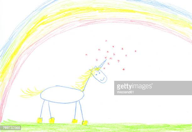 Childs drawing of unicorn on paper