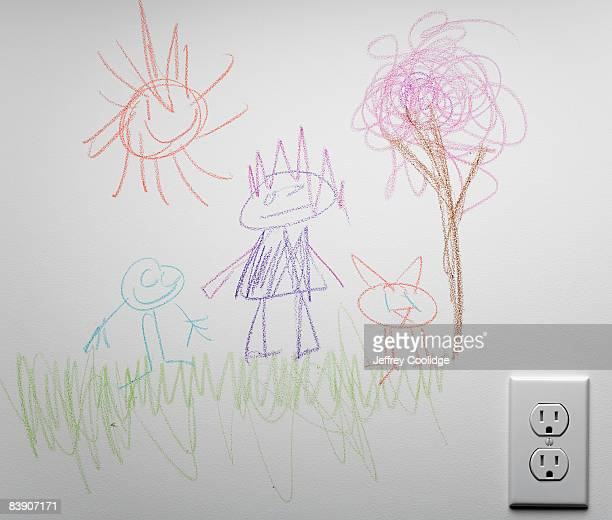 child's drawing on wall - kids art stock pictures, royalty-free photos & images
