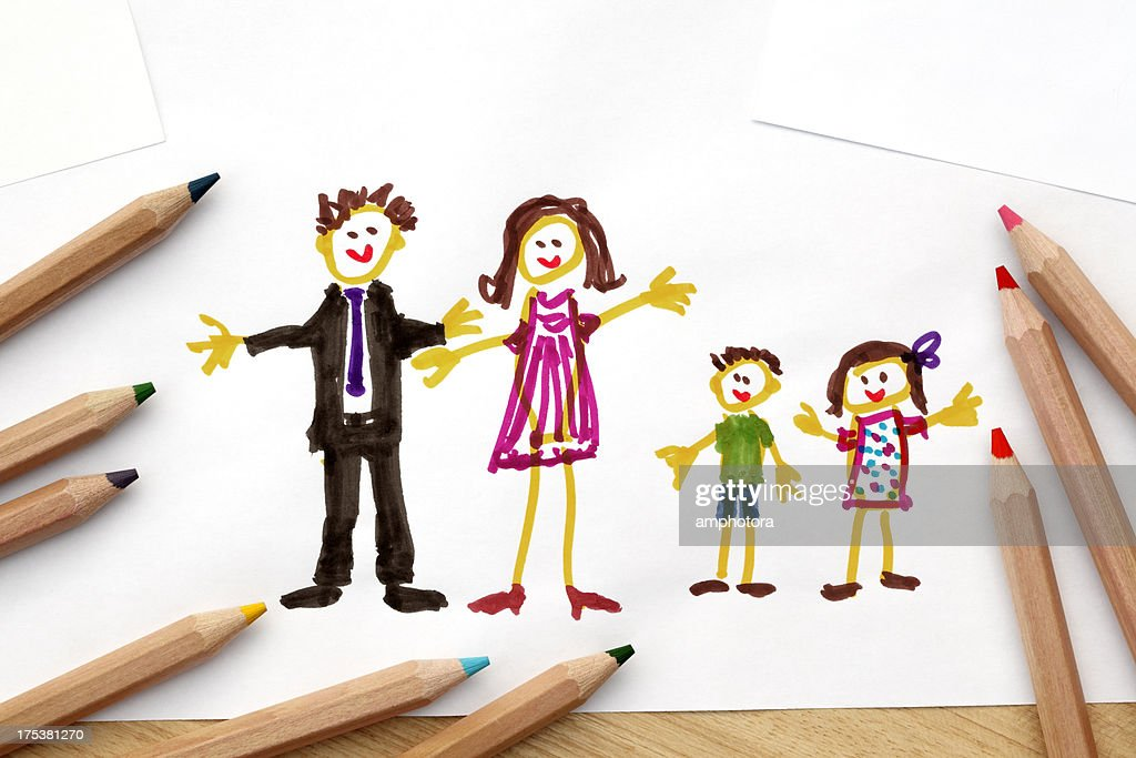 Child's drawing : Stock Photo