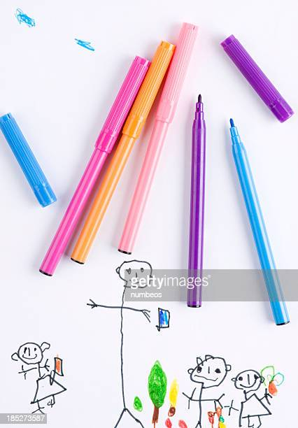 child's drawing - felt tip pen stock pictures, royalty-free photos & images