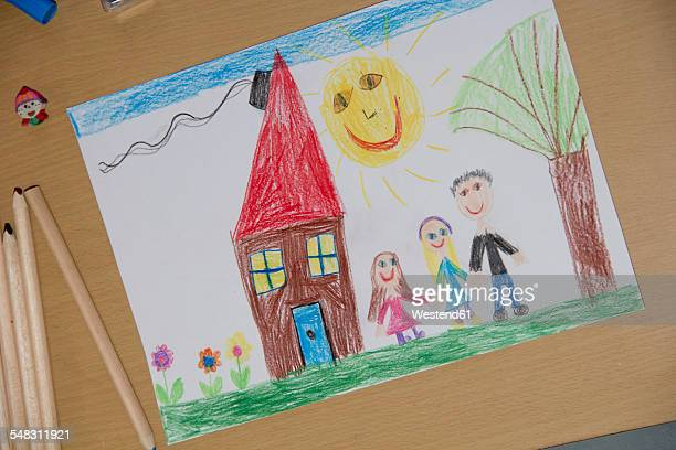 child's drawing with happy family - kids art stock pictures, royalty-free photos & images