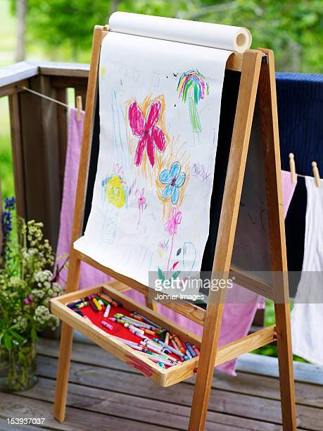 Childs drawings on easel