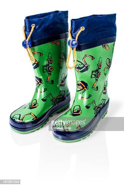 child's green wellington boots / waders - レインブーツ ストックフォトと画像