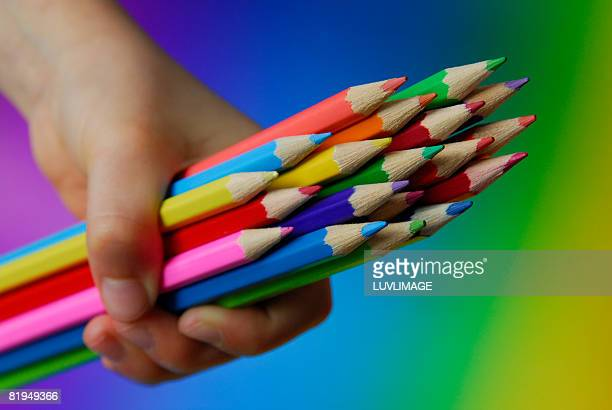 child's hand holding many colored pencils