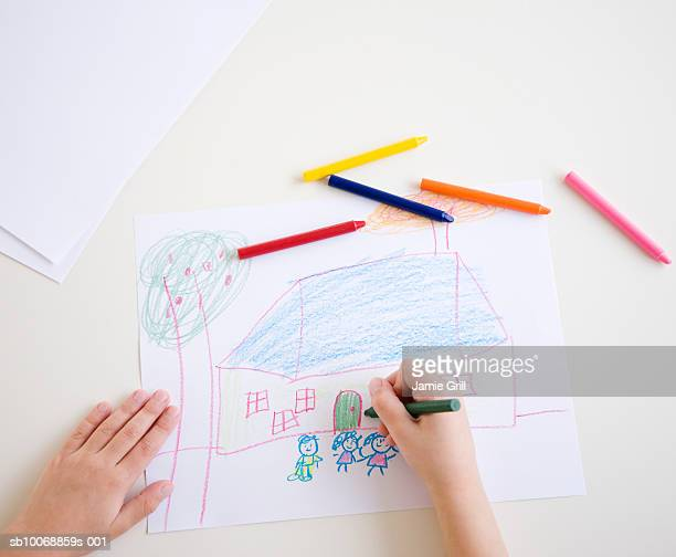 Child's hands drawing picture, high angle view