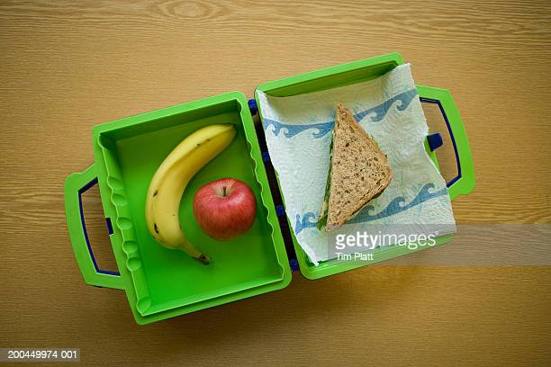 Child's lunchbox with sandwich and fruit, overhead view
