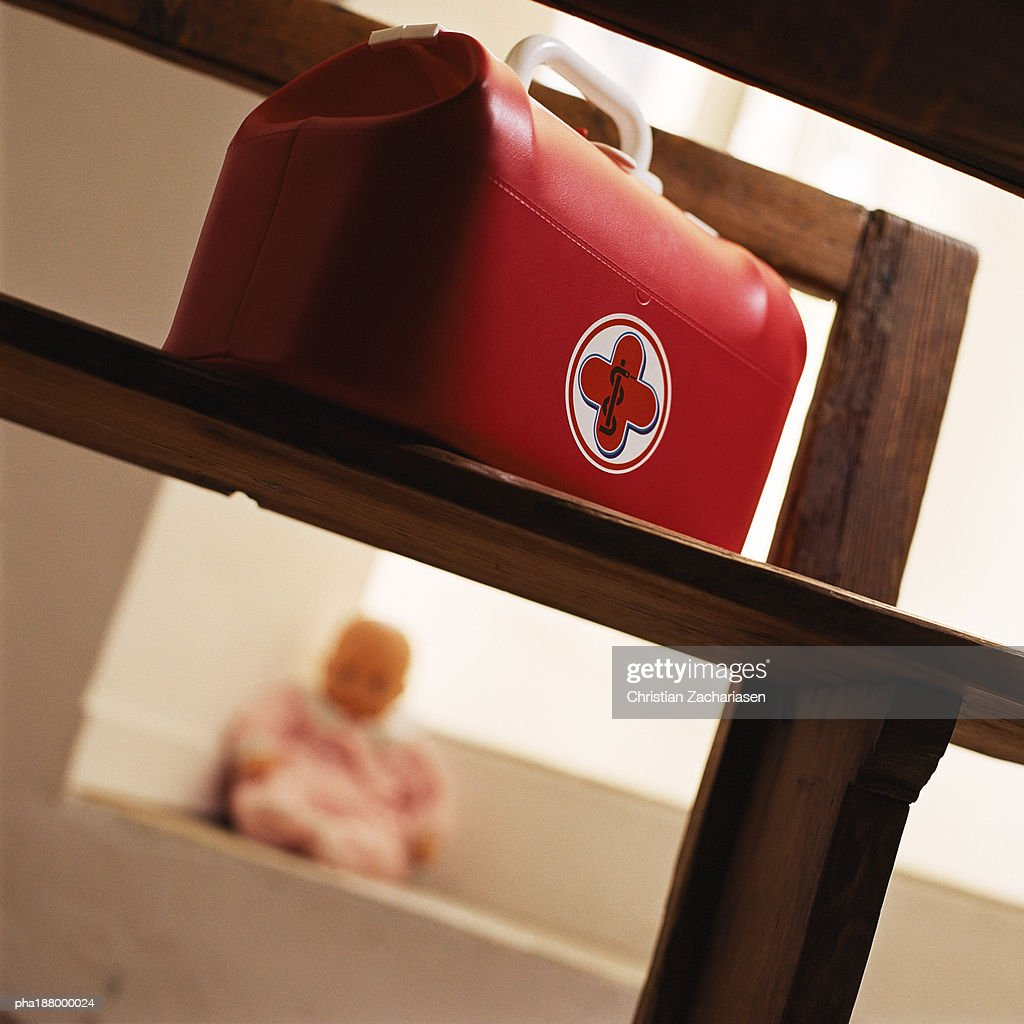 Child's medical bag on chair. : Bildbanksbilder