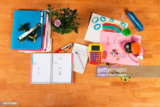 Child's notebooks, pens and toys