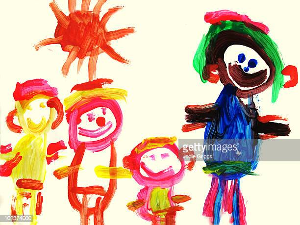 childs painting of a family - kids art stock pictures, royalty-free photos & images