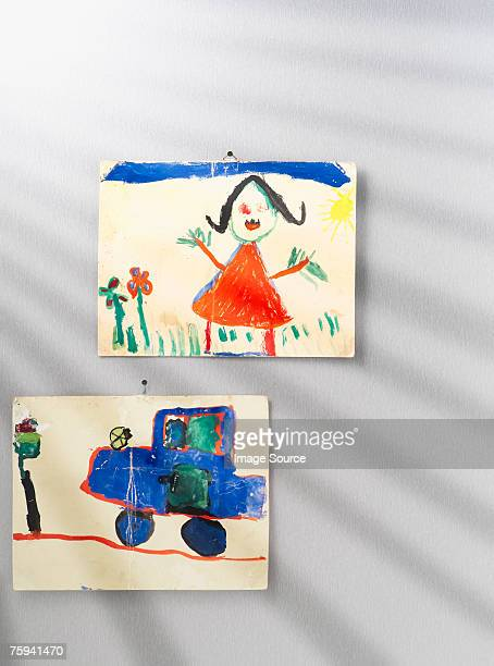 childs pictures on a wall - kids art stock pictures, royalty-free photos & images