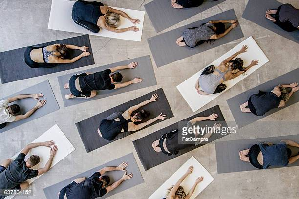 child's pose - yoga stockfoto's en -beelden