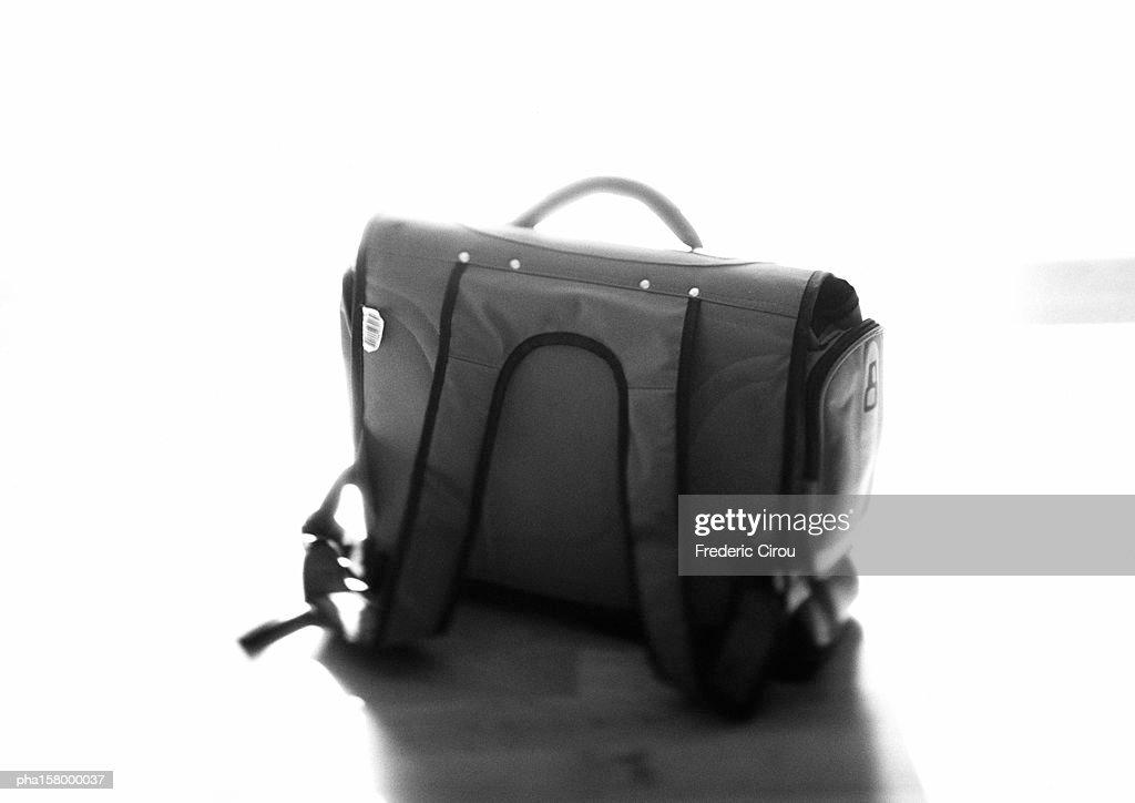 Child's school bag, b&w. : Stockfoto
